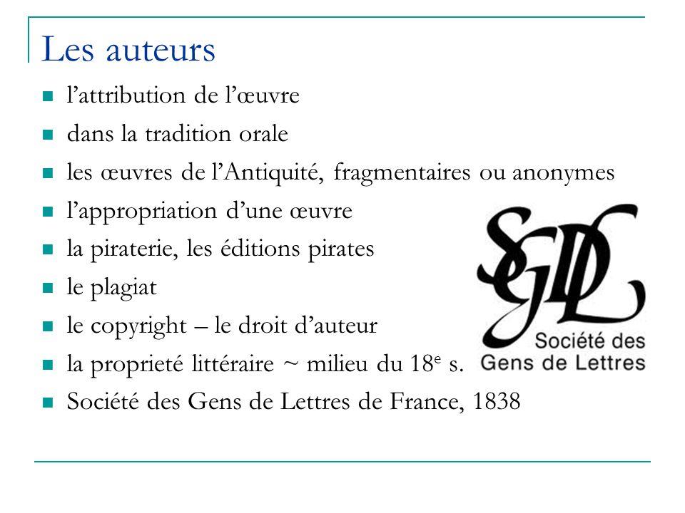 Les auteurs lattribution de lœuvre dans la tradition orale les œuvres de lAntiquité, fragmentaires ou anonymes lappropriation dune œuvre la piraterie,