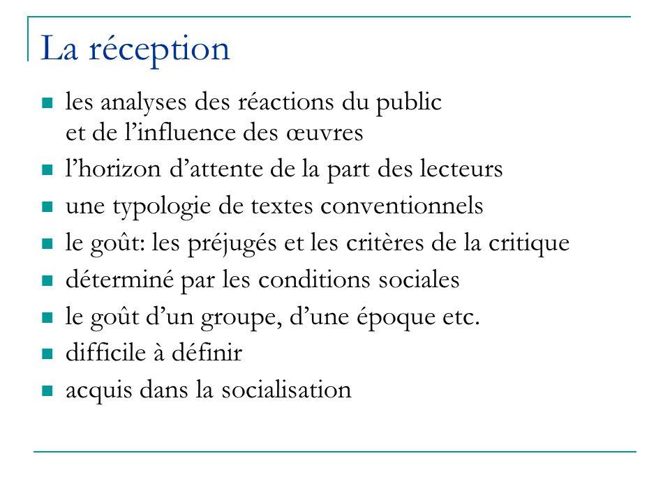 La réception les analyses des réactions du public et de linfluence des œuvres lhorizon dattente de la part des lecteurs une typologie de textes conven