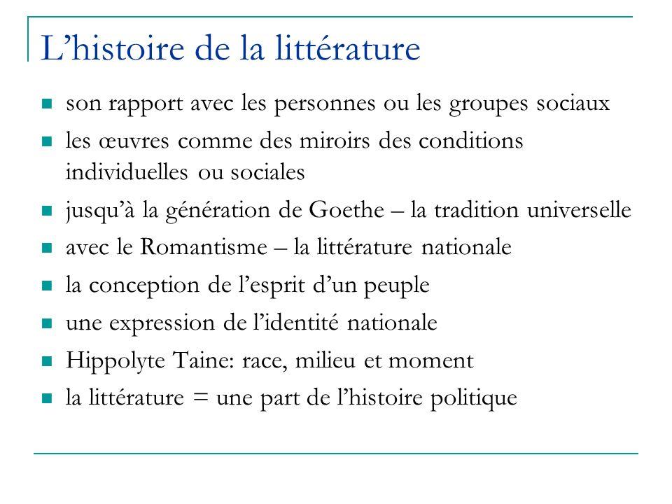 Lhistoire de la littérature son rapport avec les personnes ou les groupes sociaux les œuvres comme des miroirs des conditions individuelles ou sociale