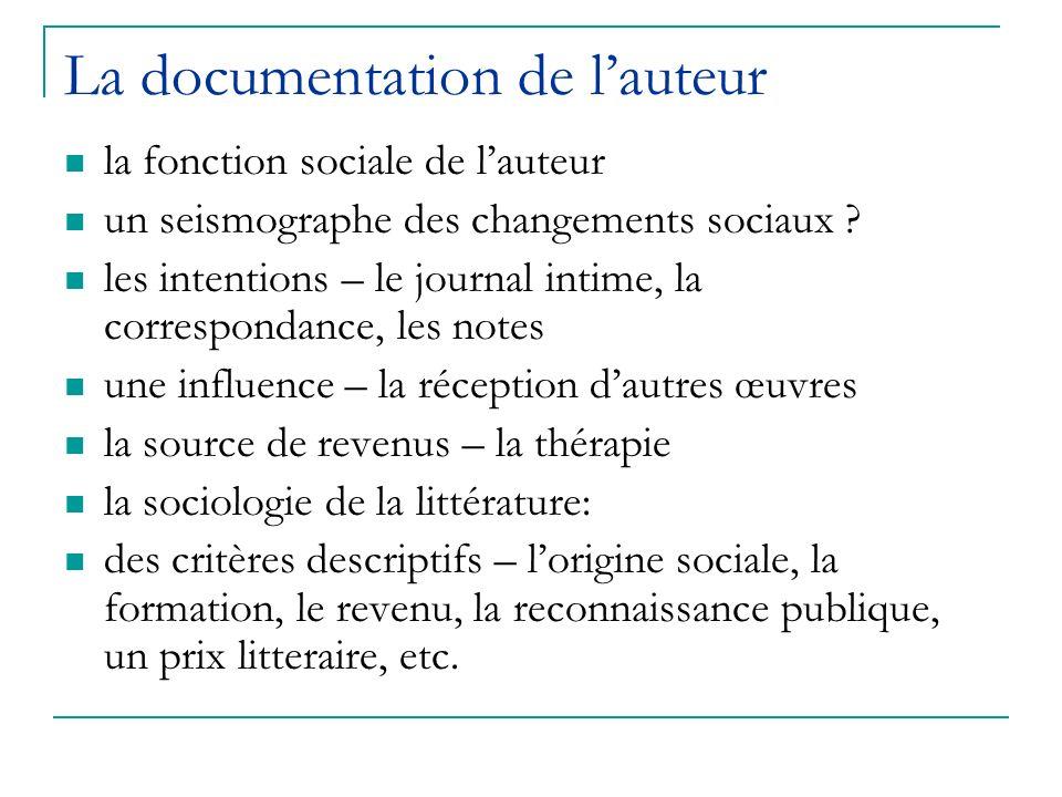 La documentation de lauteur la fonction sociale de lauteur un seismographe des changements sociaux ? les intentions – le journal intime, la correspond