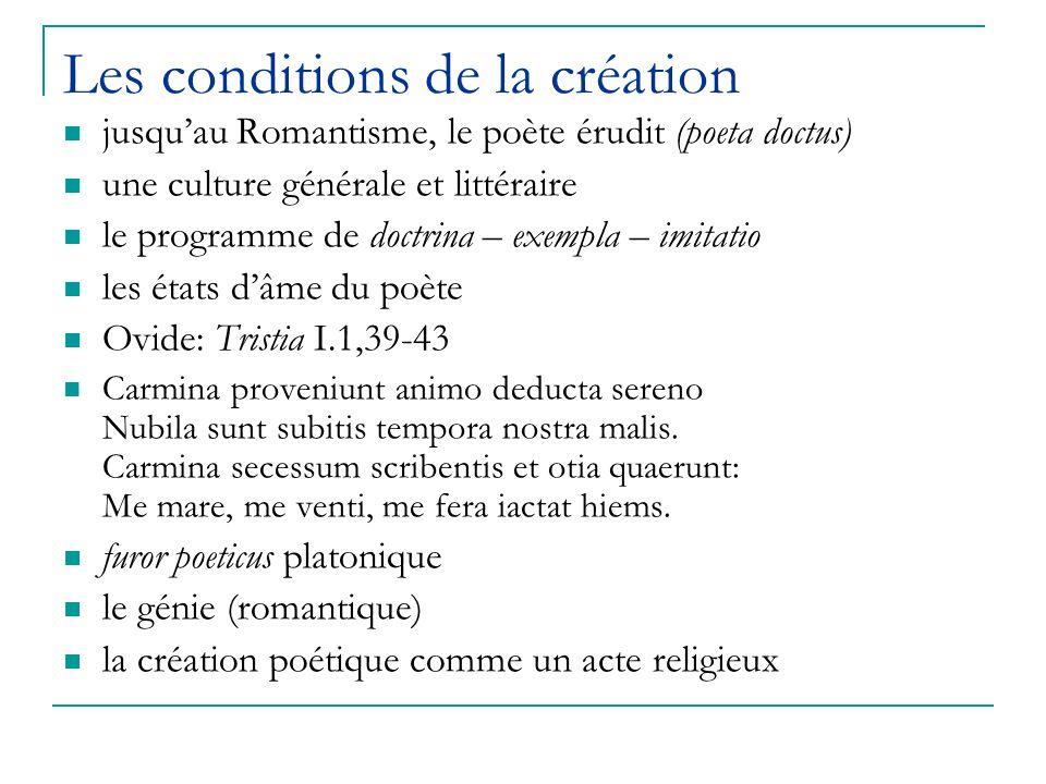 Les conditions de la création jusquau Romantisme, le poète érudit (poeta doctus) une culture générale et littéraire le programme de doctrina – exempla