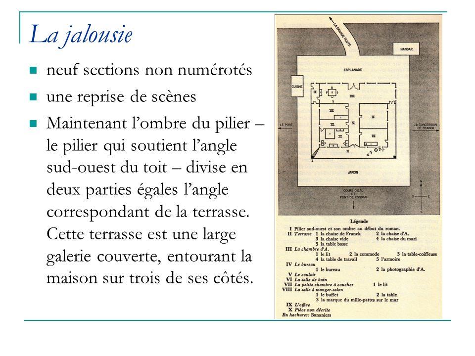 La jalousie neuf sections non numérotés une reprise de scènes Maintenant lombre du pilier – le pilier qui soutient langle sud-ouest du toit – divise e