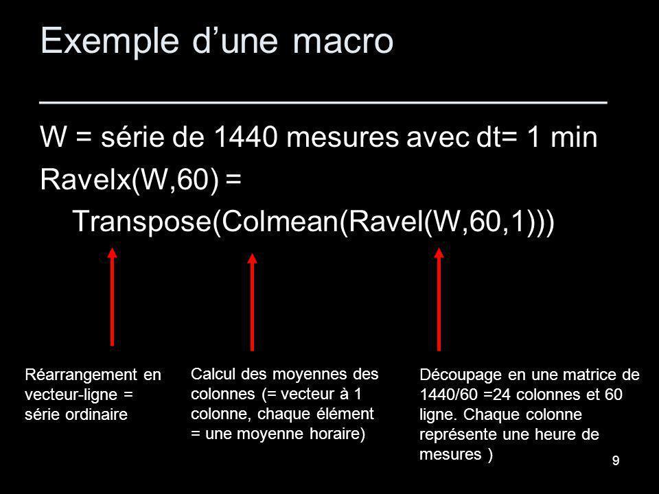 9 Exemple dune macro ____________________________ W = série de 1440 mesures avec dt= 1 min Ravelx(W,60) = Transpose(Colmean(Ravel(W,60,1))) Découpage en une matrice de 1440/60 =24 colonnes et 60 ligne.