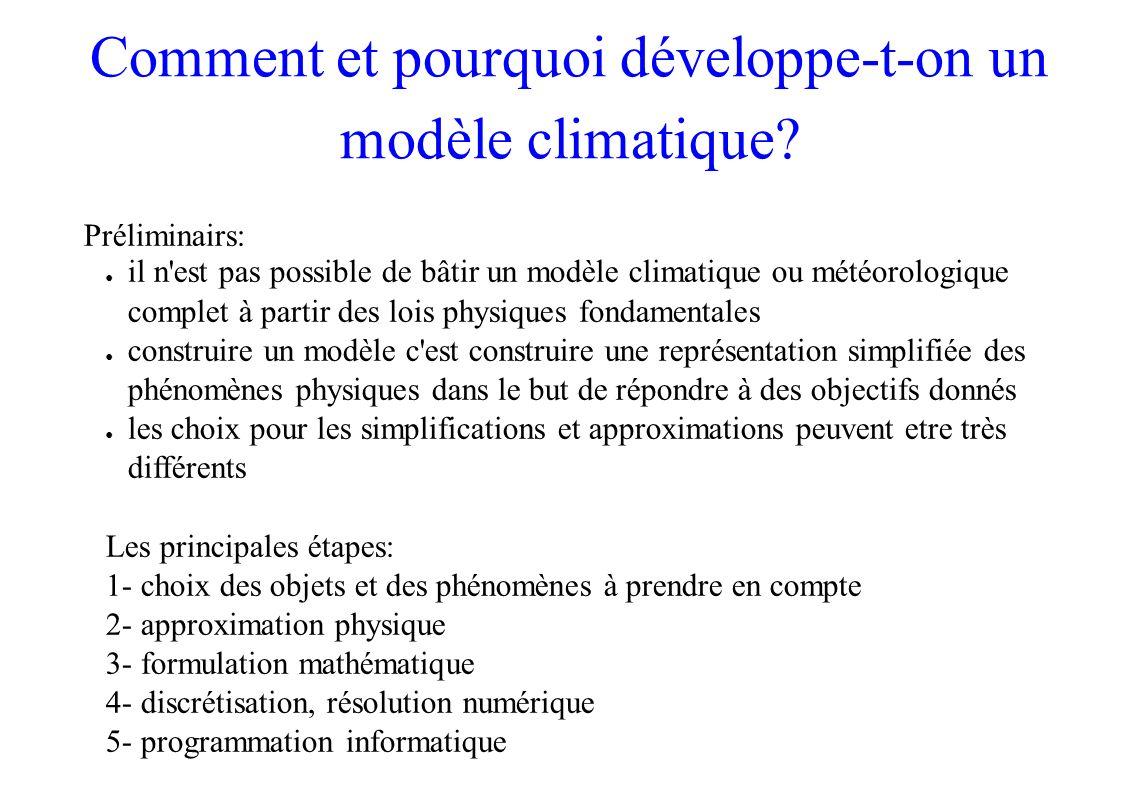Comment et pourquoi développe-t-on un modèle climatique? Préliminairs: il n'est pas possible de bâtir un modèle climatique ou météorologique complet à