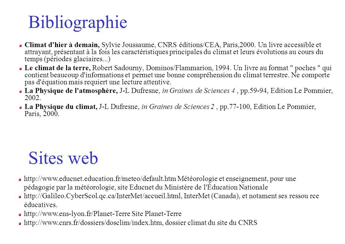 Bibliographie Climat d'hier à demain, Sylvie Joussaume, CNRS éditions/CEA, Paris,2000. Un livre accessible et attrayant, présentant à la fois les cara