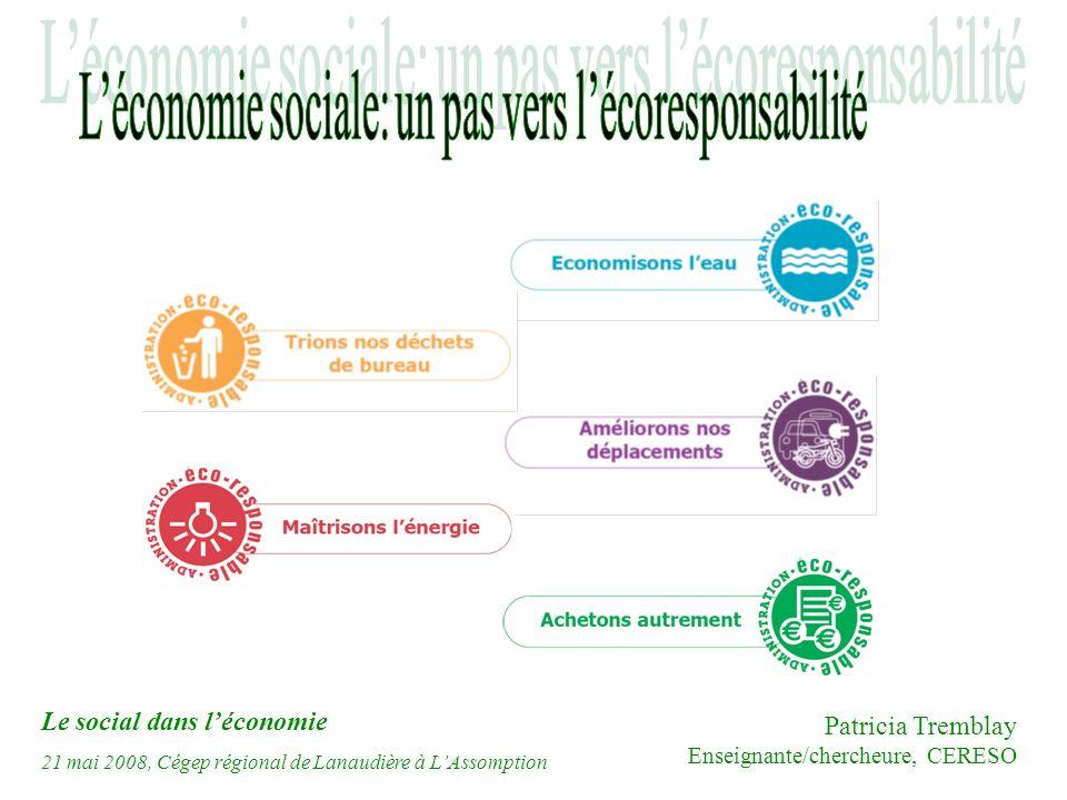Le social dans léconomie 21 mai 2008, Cégep régional de Lanaudière à LAssomption Patricia Tremblay Enseignante/chercheure, CERESO