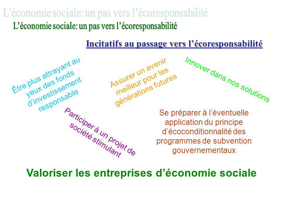 Incitatifs au passage vers lécoresponsabilité Innover dans nos solutions Se préparer à léventuelle application du principe décoconditionnalité des pro