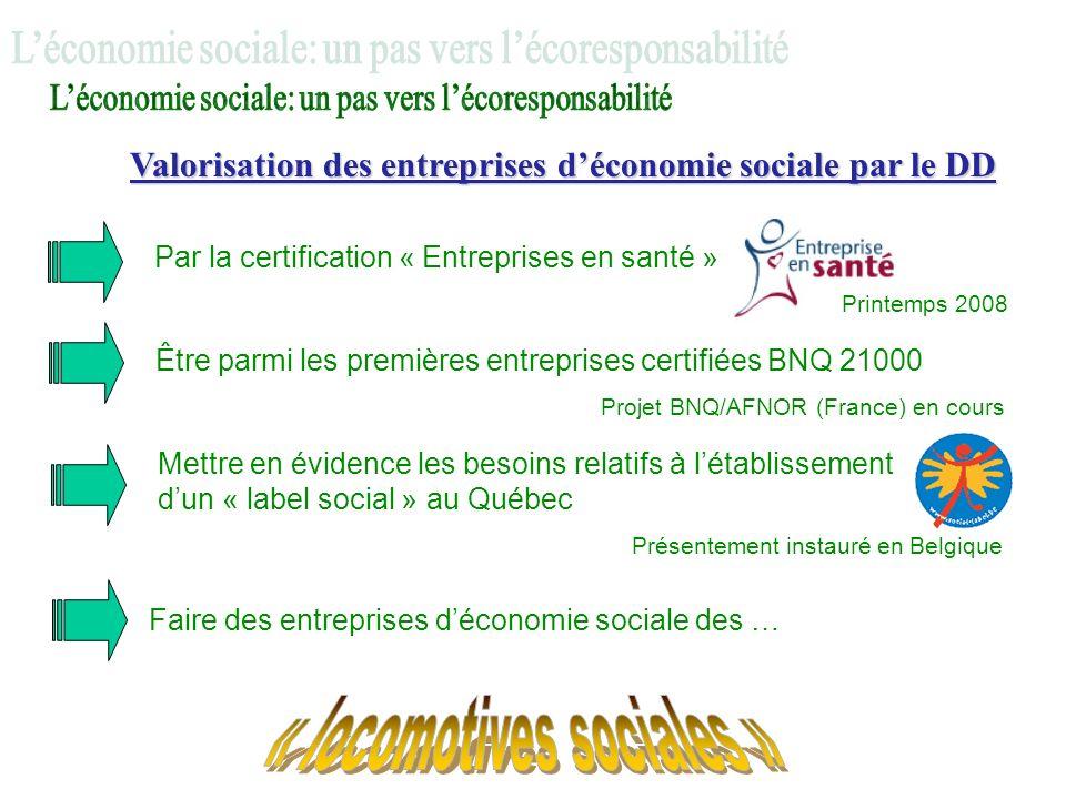 Valorisation des entreprises déconomie sociale par le DD Par la certification « Entreprises en santé » Printemps 2008 Être parmi les premières entrepr