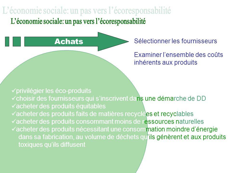Achats Sélectionner les fournisseurs Examiner lensemble des coûts inhérents aux produits privilégier les éco-produits choisir des fournisseurs qui sin