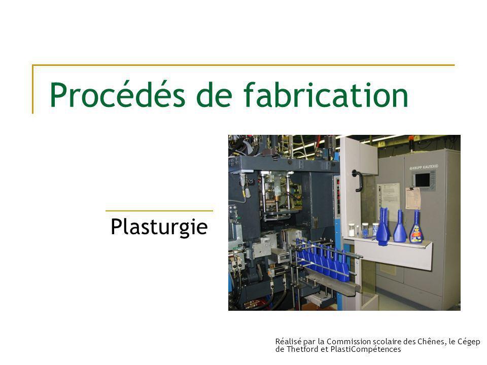 Procédés de fabrication Plasturgie Réalisé par la Commission scolaire des Chênes, le Cégep de Thetford et PlastiCompétences
