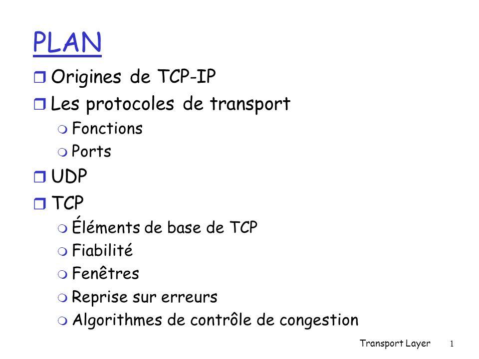 Transport Layer1 PLAN r Origines de TCP-IP r Les protocoles de transport m Fonctions m Ports r UDP r TCP m Éléments de base de TCP m Fiabilité m Fenêtres m Reprise sur erreurs m Algorithmes de contrôle de congestion