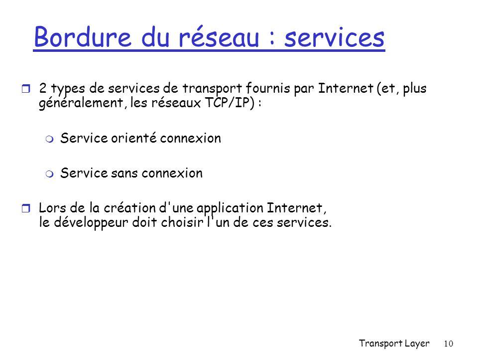 Transport Layer10 Bordure du réseau : services r 2 types de services de transport fournis par Internet (et, plus généralement, les réseaux TCP/IP) : m Service orienté connexion m Service sans connexion r Lors de la création d une application Internet, le développeur doit choisir l un de ces services.