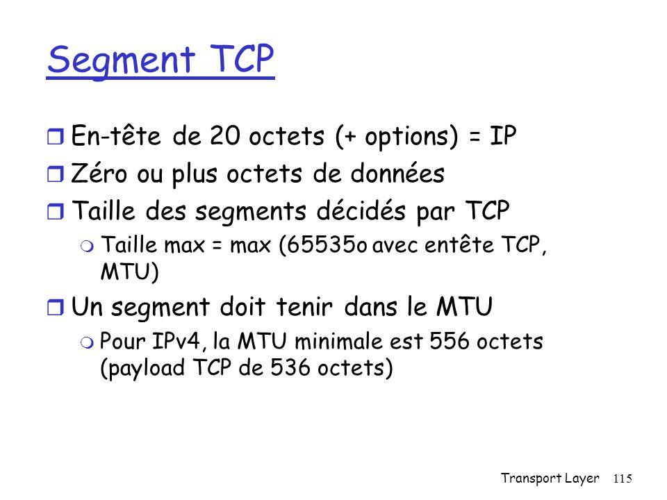 Transport Layer115 Segment TCP r En-tête de 20 octets (+ options) = IP r Zéro ou plus octets de données r Taille des segments décidés par TCP m Taille max = max (65535o avec entête TCP, MTU) r Un segment doit tenir dans le MTU m Pour IPv4, la MTU minimale est 556 octets (payload TCP de 536 octets)