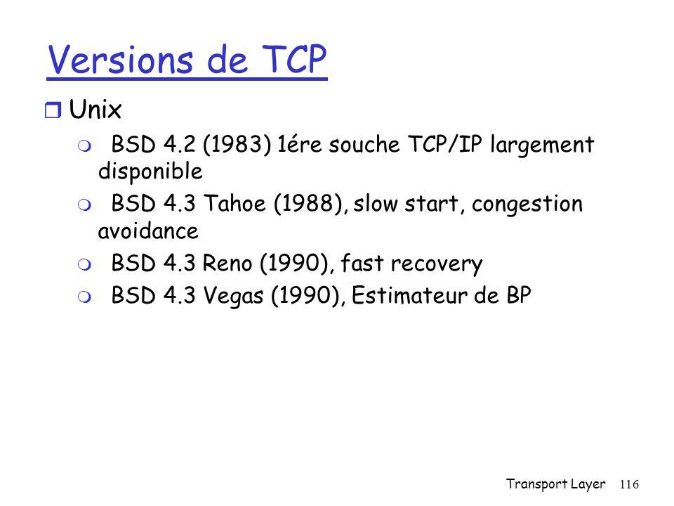 Transport Layer116 Versions de TCP r Unix m BSD 4.2 (1983) 1ére souche TCP/IP largement disponible m BSD 4.3 Tahoe (1988), slow start, congestion avoidance m BSD 4.3 Reno (1990), fast recovery m BSD 4.3 Vegas (1990), Estimateur de BP