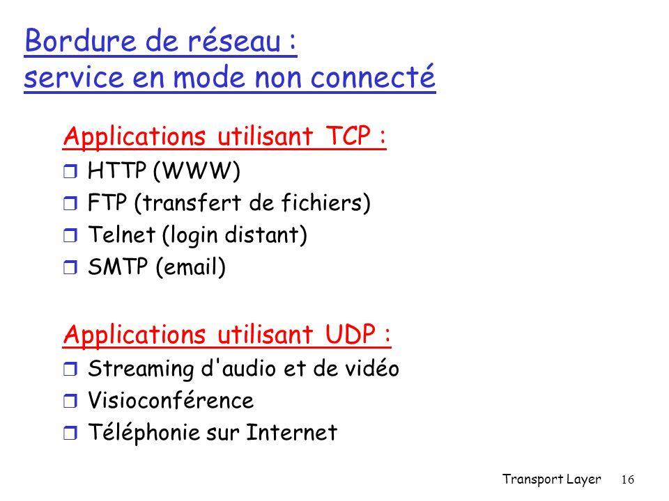 Transport Layer16 Bordure de réseau : service en mode non connecté Applications utilisant TCP : r HTTP (WWW) r FTP (transfert de fichiers) r Telnet (login distant) r SMTP (email) Applications utilisant UDP : r Streaming d audio et de vidéo r Visioconférence r Téléphonie sur Internet