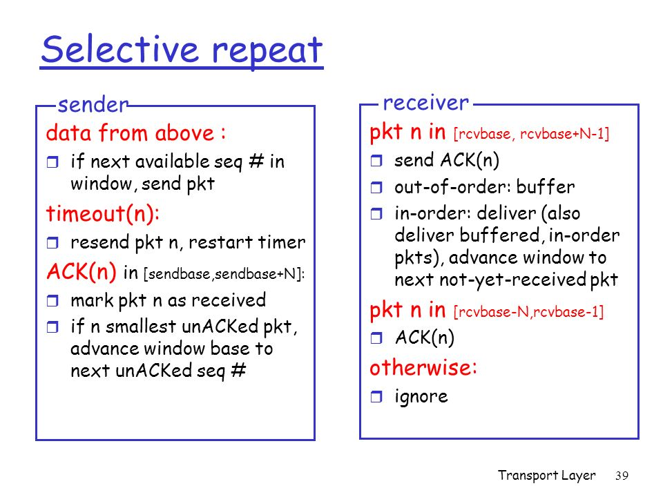Transport Layer39 Selective repeat data from above : r if next available seq # in window, send pkt timeout(n): r resend pkt n, restart timer ACK(n) in