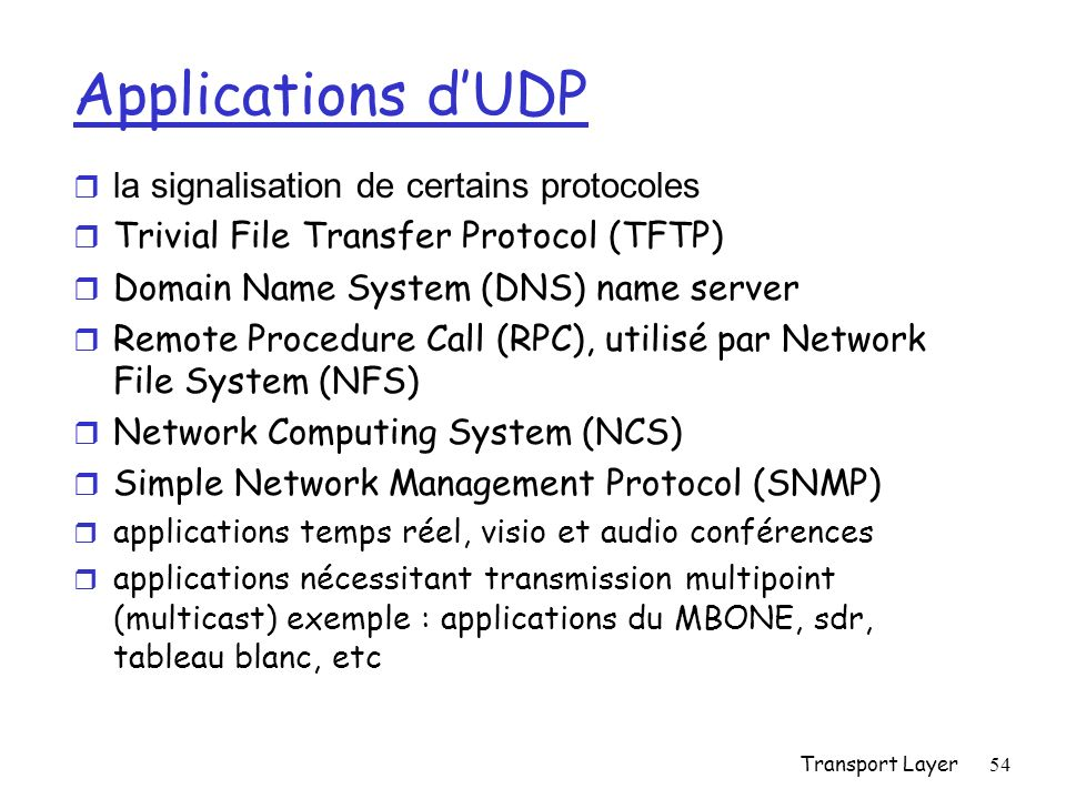 Transport Layer54 Applications dUDP la signalisation de certains protocoles r Trivial File Transfer Protocol (TFTP) r Domain Name System (DNS) name se
