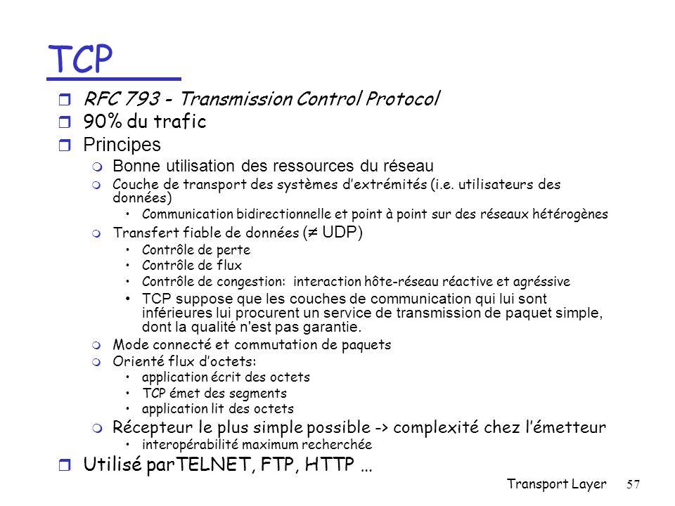 Transport Layer57 TCP r RFC 793 - Transmission Control Protocol r 90% du trafic r Principes m Bonne utilisation des ressources du réseau m Couche de transport des systèmes dextrémités (i.e.