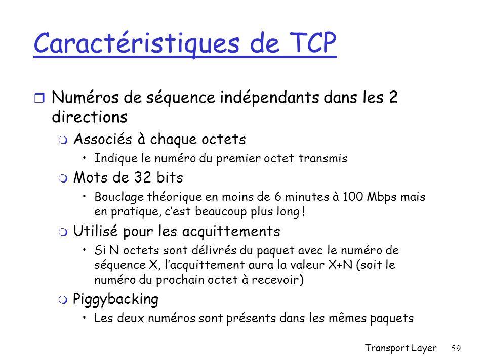 Transport Layer59 Caractéristiques de TCP r Numéros de séquence indépendants dans les 2 directions m Associés à chaque octets Indique le numéro du premier octet transmis m Mots de 32 bits Bouclage théorique en moins de 6 minutes à 100 Mbps mais en pratique, cest beaucoup plus long .