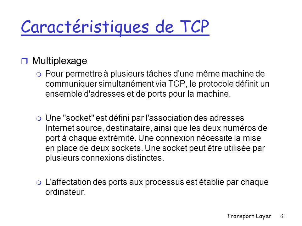 Transport Layer61 Caractéristiques de TCP r Multiplexage m Pour permettre à plusieurs tâches d une même machine de communiquer simultanément via TCP, le protocole définit un ensemble d adresses et de ports pour la machine.