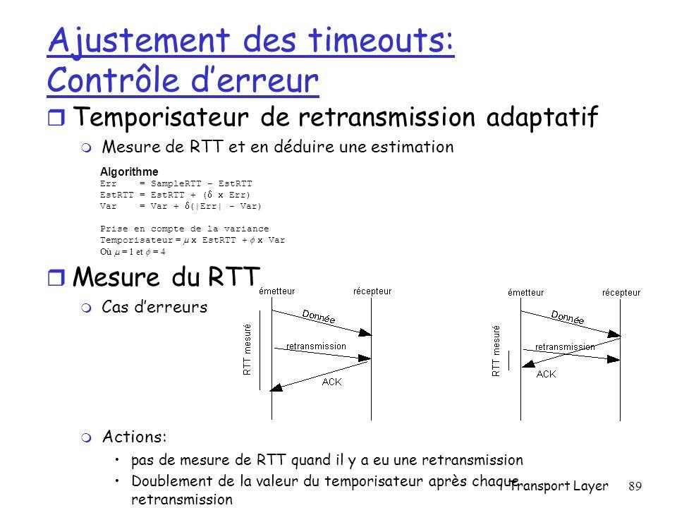 Transport Layer89 Ajustement des timeouts: Contrôle derreur r Temporisateur de retransmission adaptatif m Mesure de RTT et en déduire une estimation r Mesure du RTT m Cas derreurs m Actions: pas de mesure de RTT quand il y a eu une retransmission Doublement de la valeur du temporisateur après chaque retransmission Algorithme Err = SampleRTT - EstRTT EstRTT = EstRTT + ( x Err) Var = Var + (|Err| - Var) Prise en compte de la variance Temporisateur = x EstRTT + x Var Où = 1 et = 4
