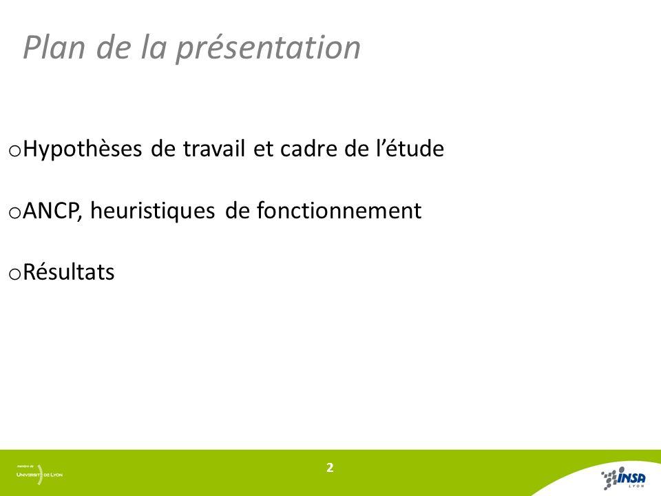 Plan de la présentation o Hypothèses de travail et cadre de létude o ANCP, heuristiques de fonctionnement o Résultats 2