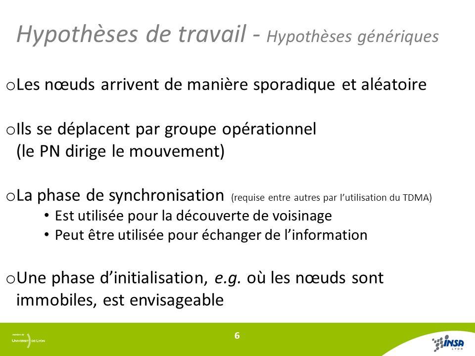 Hypothèses de travail - Hypothèses génériques o Les nœuds arrivent de manière sporadique et aléatoire o Ils se déplacent par groupe opérationnel (le P