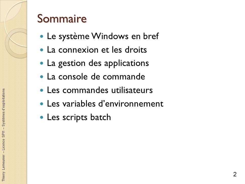 Thierry Lemeunier – Licence SPI1 – Systèmes dexploitations Le système Windows en bref (1/2) Système dexploitation de la société Microsoft avec interface graphique dinteraction Le succès a commencé avec Windows 3.1 (comprenant des fonctionnalités réseau) 3