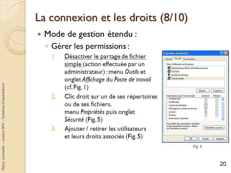 Thierry Lemeunier – Licence SPI1 – Systèmes dexploitations La connexion et les droits (9/10) Mode de gestion étendu (suite et fin) : Partage réseau : Connectez-vous avec un compte administrateur Désactiver le partage de fichier simple (cf.