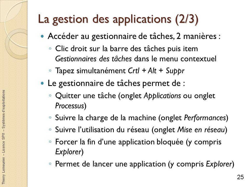 Thierry Lemeunier – Licence SPI1 – Systèmes dexploitations La gestion des applications (3/3) 26 Terminer la tâche Créer nouvelle tâche