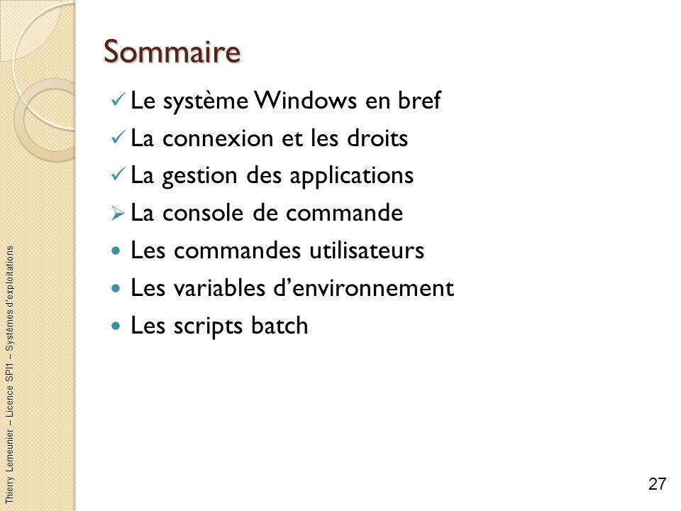 Thierry Lemeunier – Licence SPI1 – Systèmes dexploitations La console de commande (1/5) Comme Unix, Windows permet à lutilisateur dexécuter des commandes Modifier ses fichiers et ses répertoires Ecrire des fichiers de commande : les script batch (cf.