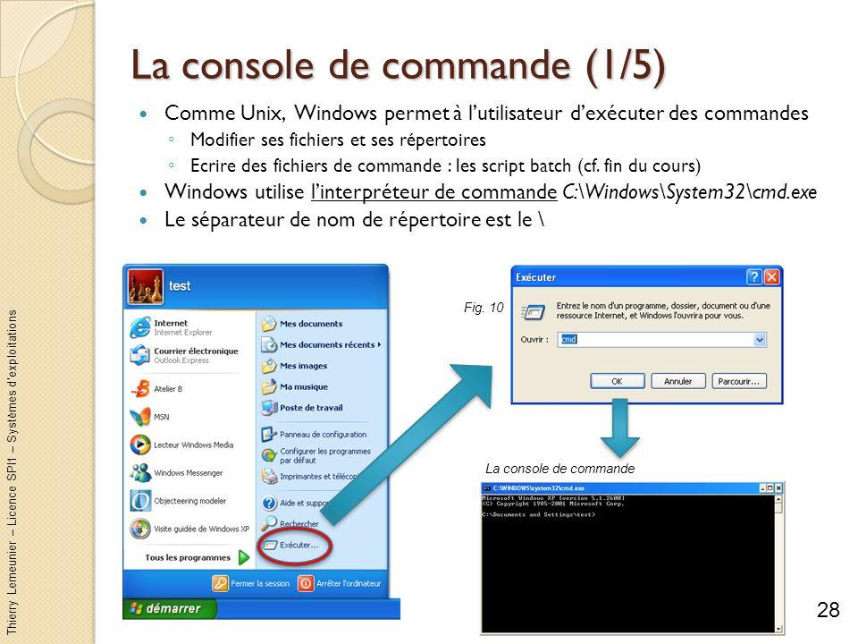 Thierry Lemeunier – Licence SPI1 – Systèmes dexploitations La console de commande (2/5) Deux types de commandes : Commande interne Directement intégré dans linterpréteur (par exemple dir) Commande uniquement accessible dans un interpréteur en ligne de commande ou dans un script Commande externe Fichier exécutable directement via Exécuter (cf.