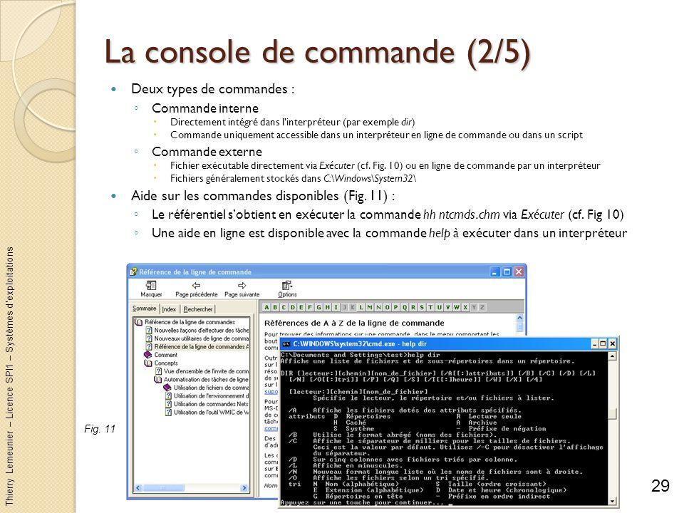 Thierry Lemeunier – Licence SPI1 – Systèmes dexploitations La console de commande (3/5) Personnaliser la console : Options : taille du curseur, fenêtrage ou plein écran, taille de lhistorique des commandes, édition avec la souris ou pas Choisir le style daffichage du texte (taille et police) Configuration de la fenêtre : position (par le système par défaut), taille (80x25 par défaut), taille de la mémorisation du contenu de la fenêtre (80x300 par défaut) Couleurs du texte, de larrière-plan 30