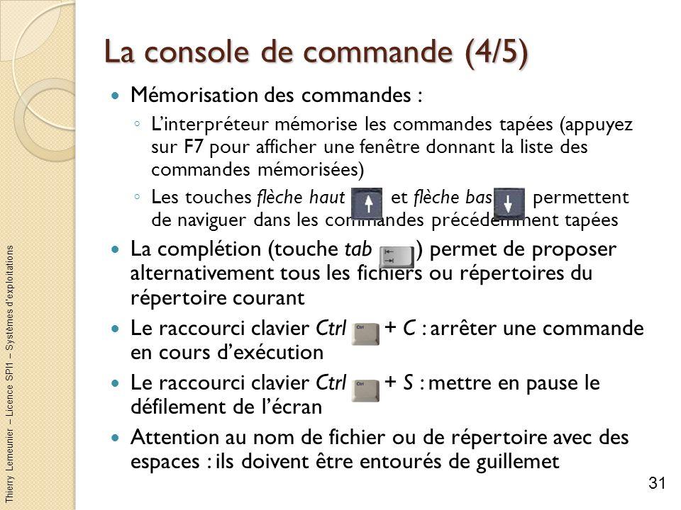 Thierry Lemeunier – Licence SPI1 – Systèmes dexploitations La console de commande (5/5) Structures des commandes : 32
