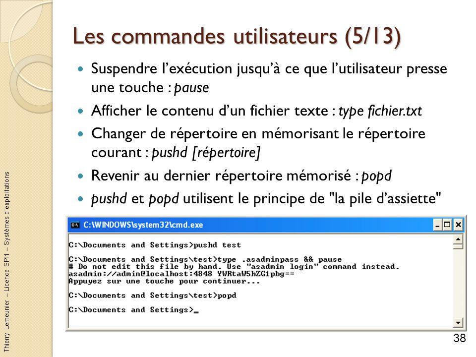 Thierry Lemeunier – Licence SPI1 – Systèmes dexploitations Les commandes utilisateurs (6/13) Supprimer un ou plusieurs fichiers : del fichiers Loption /s fait une suppression dans les sous-répertoires Loption /q permet de ne pas avoir à confirmer dans le cas dutilisation avec un filtre Loption /f force la suppression des fichiers en lecture seule Possibilité de filtrer selon lextension.