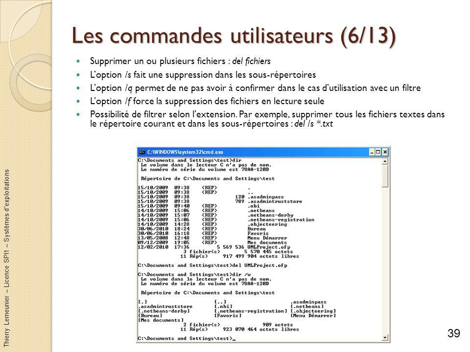 Thierry Lemeunier – Licence SPI1 – Systèmes dexploitations Les commandes utilisateurs (7/13) Supprimer un ou plusieurs répertoires : rd répertoires ou rmdir répertoires Loption /s permet de supprimer aussi les sous-répertoires Loption /q est le mode silencieux Création dun répertoire : md répertoire ou mkdir répertoire md va créer tous les sous-répertoires intermédiaires sils nexistent pas 40