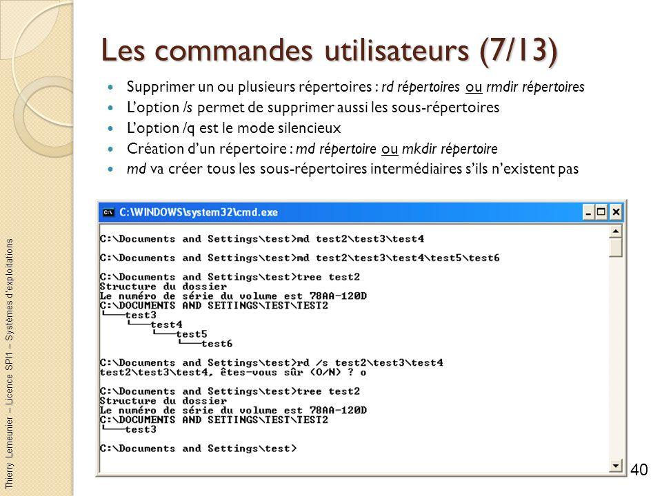 Thierry Lemeunier – Licence SPI1 – Systèmes dexploitations Les commandes utilisateurs (8/13) Copier sélectivement des fichiers et des répertoires : xcopy source destination /options Loption /s copie les sous-répertoires Loption /d[:jj-mm-aaaa] permet de filtrer les fichiers qui ont changés depuis nimporte quelle date Loption /c permet de continuer la copie même si des erreurs se produisent Loption /i permet de considérer la destination comme un dossier si elle nexiste pas et sil y a plusieurs fichiers à copier Il y a environ 27 options possibles...