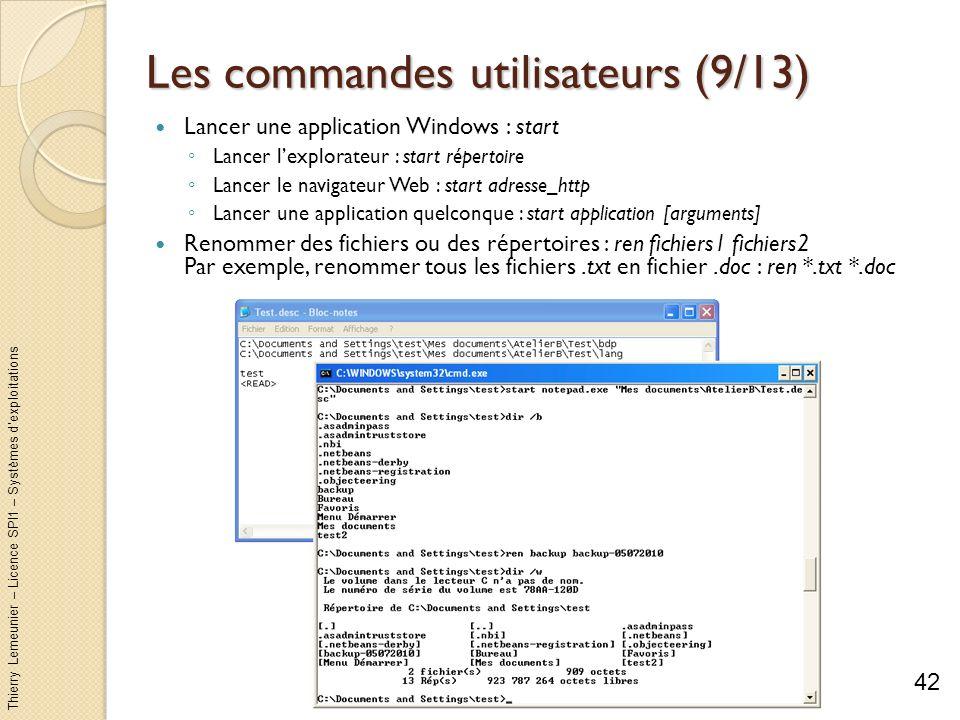 Thierry Lemeunier – Licence SPI1 – Systèmes dexploitations Les commandes utilisateurs (10/13) Déplacer et renommer des fichiers ou des répertoires : move...