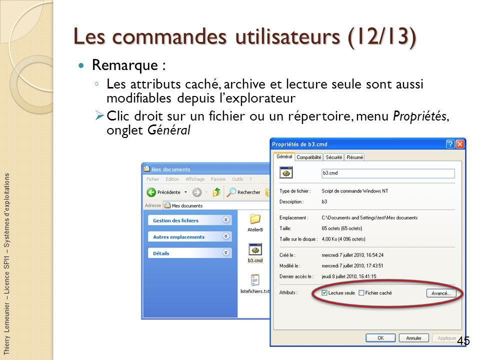 Thierry Lemeunier – Licence SPI1 – Systèmes dexploitations Les commandes utilisateurs (13/13) Assigner un nom de disque à un répertoire : subst lecteur répertoire Permet daccéder directement au répertoire avec le lecteur qui apparaît dans lexplorateur Lassociation existe jusquà la fin de session ou larrêt de la machine 46