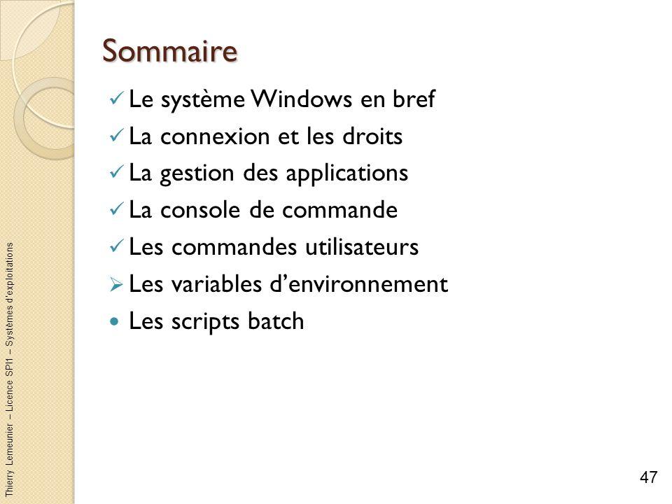 Thierry Lemeunier – Licence SPI1 – Systèmes dexploitations Les variables denvironnement (1/8) Possibilité de définir des valeurs (chaînes de caractères) à mémoriser associées à des noms Par exemples : Les chemins daccès à vos programmes favoris Le chemin du répertoire daccueil HOMEPATH Le chemin du répertoire temp servant à stocker les fichiers temporaires Les variables denvironnement sont utilisables avec linterpréteur Windows Accéder et définir les variables denvironnement : Par une commande de linterpréteur : set Les modifications sont locales à linterpréteur de commande Les modifications ne sont pas mémorisées à la fermeture de linterpréteur En modifiant les propriétés du poste de travail : Les modifications sont mémorisées même si lutilisateur se déconnecte 48