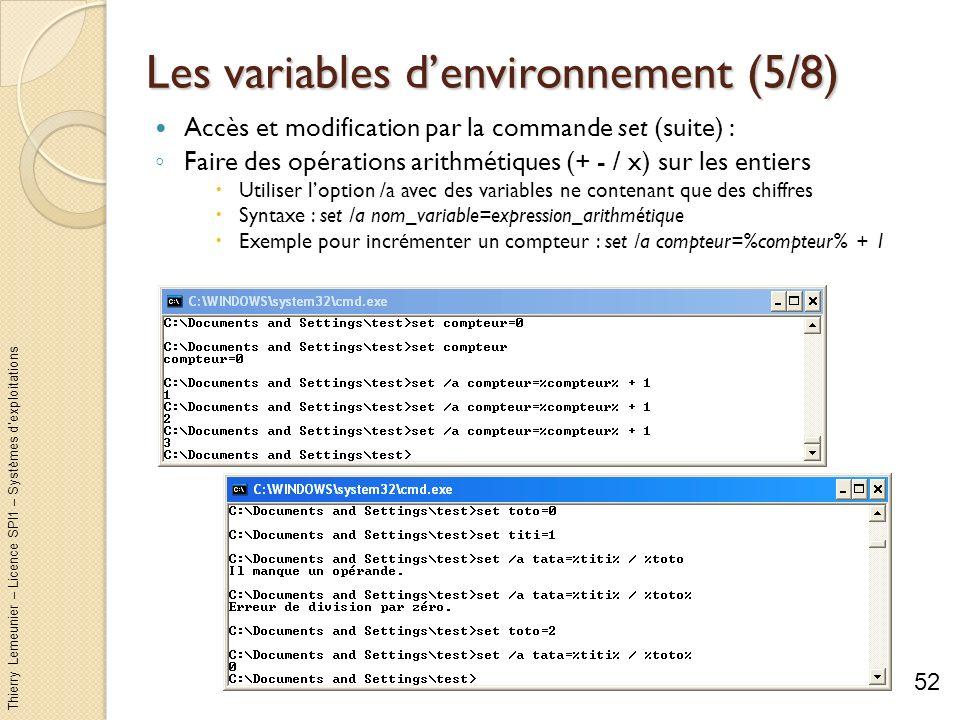 Thierry Lemeunier – Licence SPI1 – Systèmes dexploitations Les variables denvironnement (6/8) Les variables à valeur dynamique Variable dont la valeur est donnée par le système Quelques variables dynamiques : 53