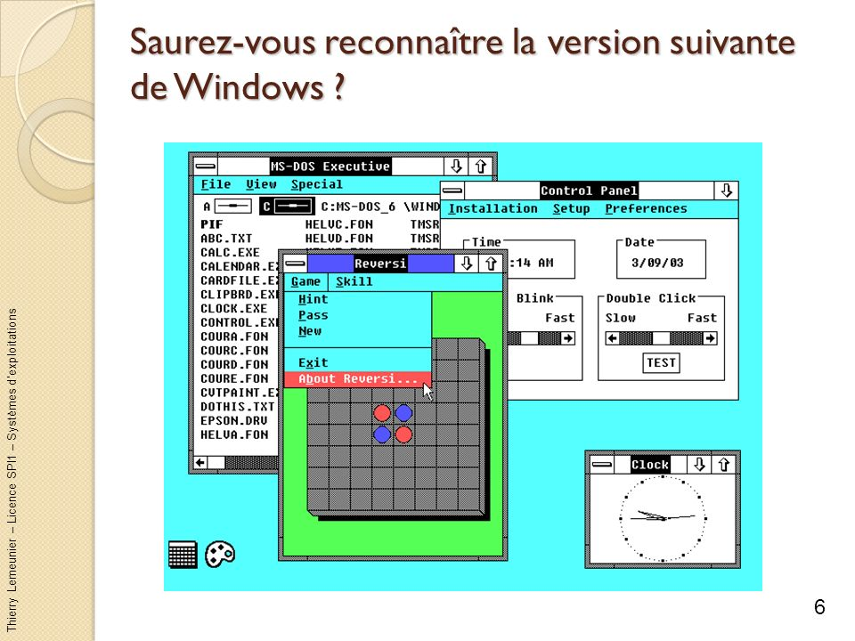 Thierry Lemeunier – Licence SPI1 – Systèmes dexploitations Saurez-vous reconnaître la version suivante de Windows .