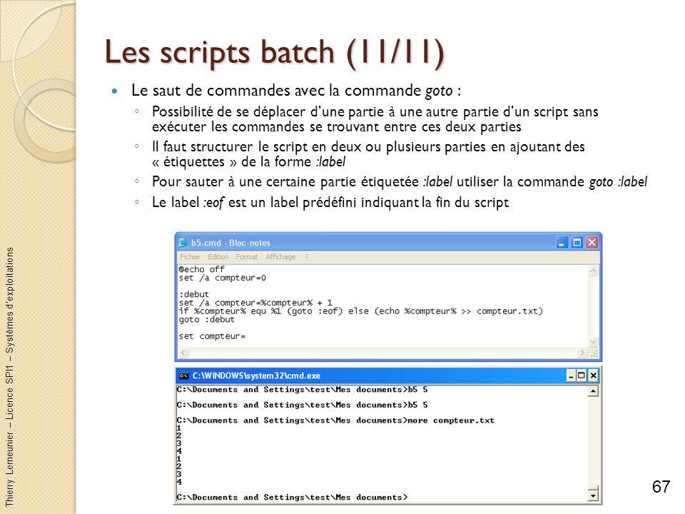 Thierry Lemeunier – Licence SPI1 – Systèmes dexploitations Les scripts batch (11/11) Le saut de commandes avec la commande goto : Possibilité de se dé