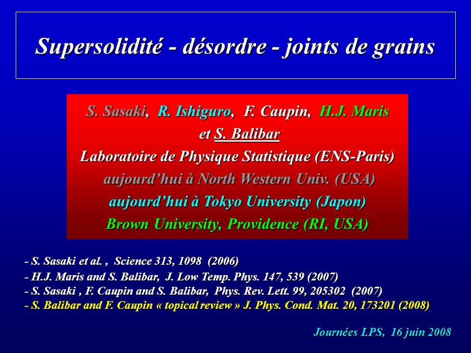 mesure de langle => lénergie des joints de grains joint de grains parallèle à laxe optique ajustement de léquation de Laplace près du cusp = 14.5 ± 4 ° = 14.5 ± 4 ° GB = (1.93 ± 0.04) LS GB = (1.93 ± 0.04) LS autres cristaux : = 11 ± 3 ° = 11 ± 3 ° = 16 ± 3 ° = 16 ± 3 ° angle 2 angle 2