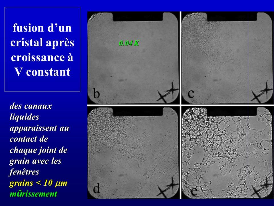 fusion dun cristal après croissance à V constant des canaux liquides apparaissent au contact de chaque joint de grain avec les fenêtres grains < 10 m