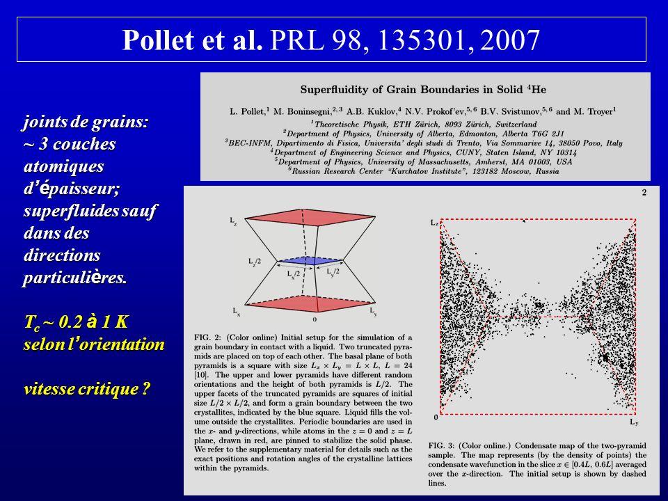 Pollet et al. PRL 98, 135301, 2007 joints de grains: ~ 3 couches atomiques d é paisseur; superfluides sauf dans des directions particuli è res. T c ~