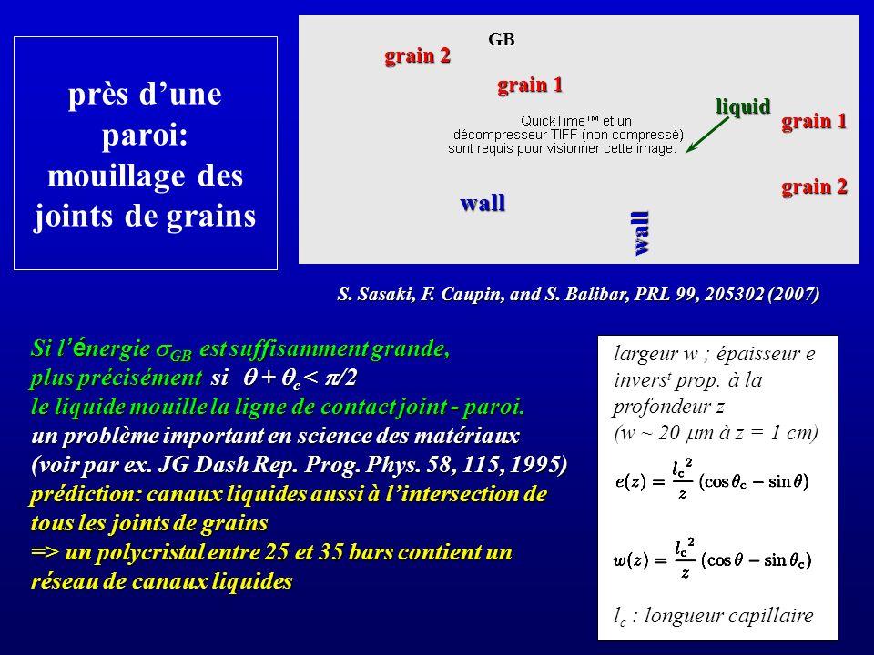 largeur w ; épaisseur e invers t prop. à la profondeur z (w ~ 20 m à z = 1 cm) l c : longueur capillaire près dune paroi: mouillage des joints de grai