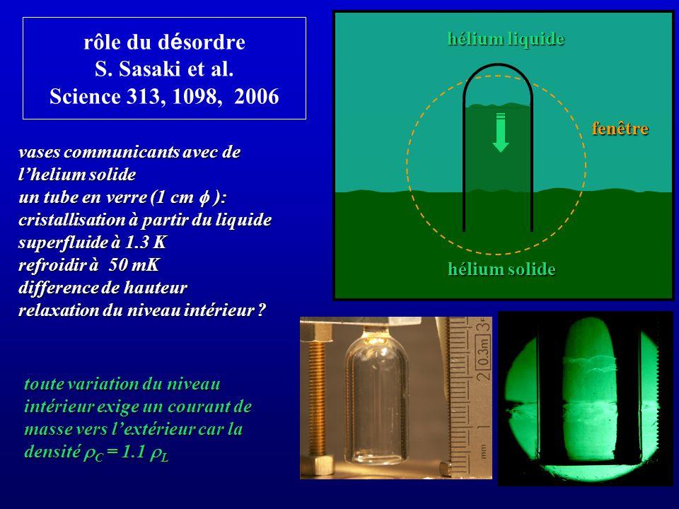 rôle du d é sordre S. Sasaki et al. Science 313, 1098, 2006 vases communicants avec de lhelium solide un tube en verre (1 cm ): cristallisation à part
