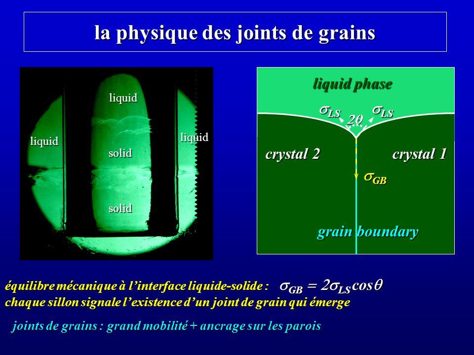 croissance lente à volume constant à partir du liquide normal croissance lente (~3 heures) dans un gradient de temp é rature (T parois < T centre ) le solide est transparent mais polycristallin solide hcp liquide liquidenormal2.56K 1.95 K