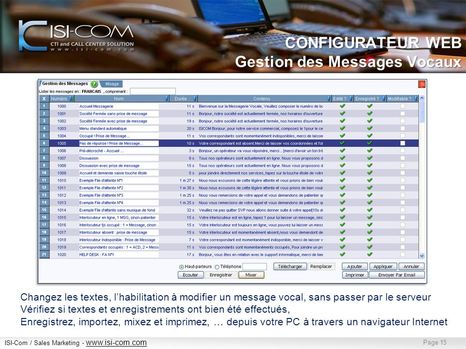 ISI-Com / Sales Marketing - www.isi-com.com www.isi-com.com Page 15 CONFIGURATEUR WEB Gestion des Messages Vocaux Changez les textes, lhabilitation à